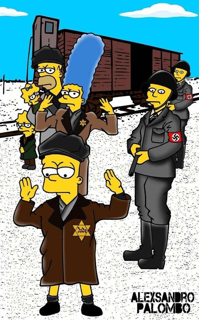 Художник Олександро Паломбо представив Сімпсонів у вигляді вязнів концтабору (13 фото)