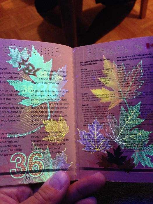 Новий паспорт громадянина Канади у світлі ультрафіолету (18 фото)
