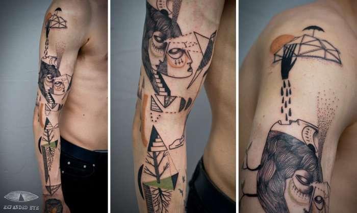 Незвичайні татуювання в кубічному стилі (20 фото)