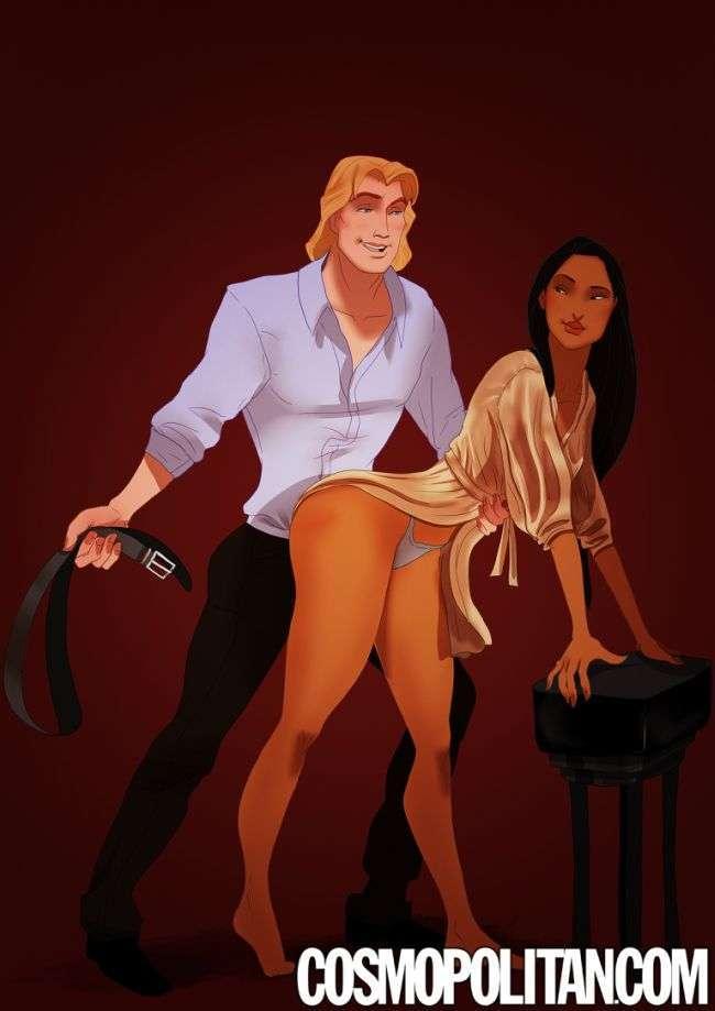 Персонажі мультфільмів в образі героїв роману «50 відтінків сірого» (9 рисунків)