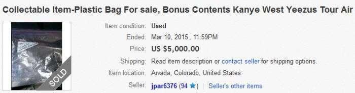 На eBay вартість повітря з концерту Каньє Уеста перевищила 60 000 доларів (5 фото)