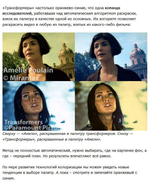 Помаранчево-синя палітра сучасних голлівудських фільмів (14 фото)